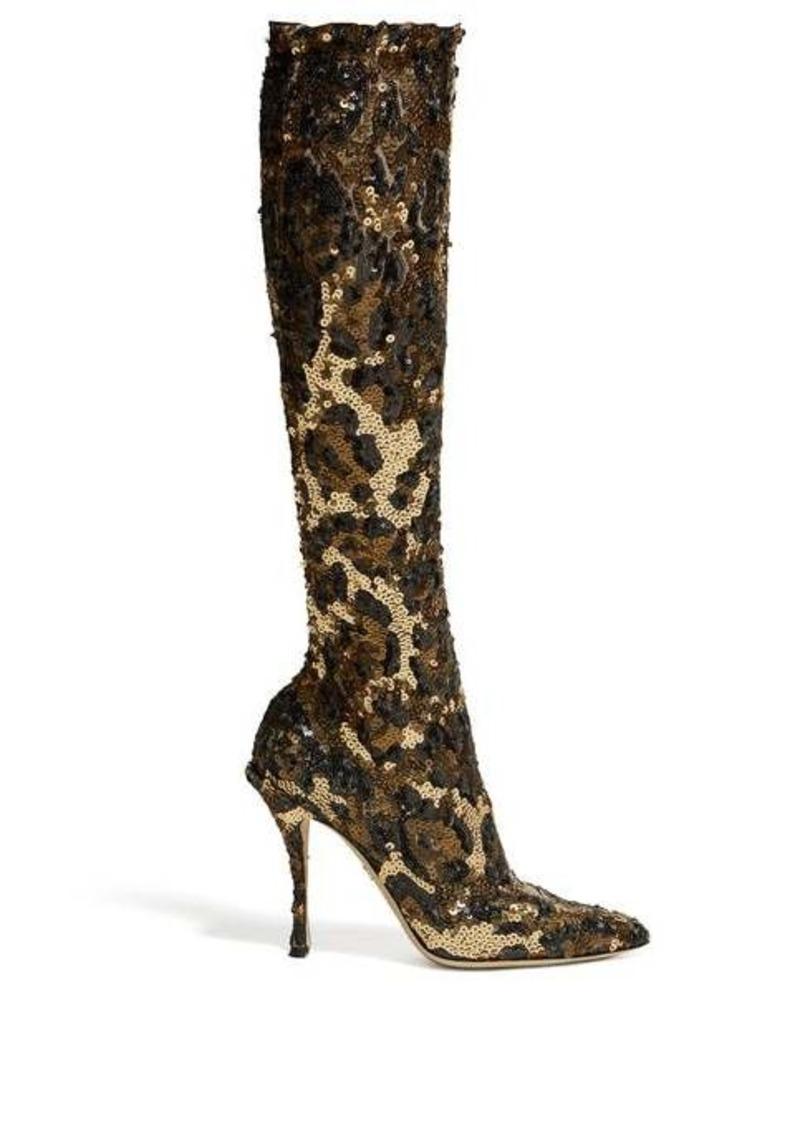 Dolce & Gabbana Leopard-sequinned knee-high boots