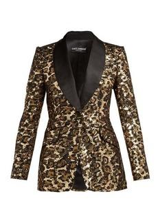 Dolce & Gabbana Leopard shawl-lapel sequinned blazer