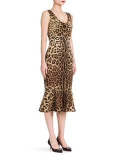 Dolce & Gabbana Leopard Stretch Flutter-Hem Dress