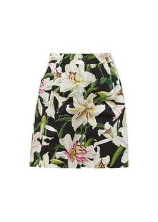 Dolce & Gabbana Lilium-print cotton-poplin shorts