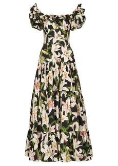 Dolce & Gabbana Lilium-print ruffled cotton dress