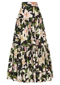 Dolce & Gabbana Lilium-print tiered poplin maxi skirt
