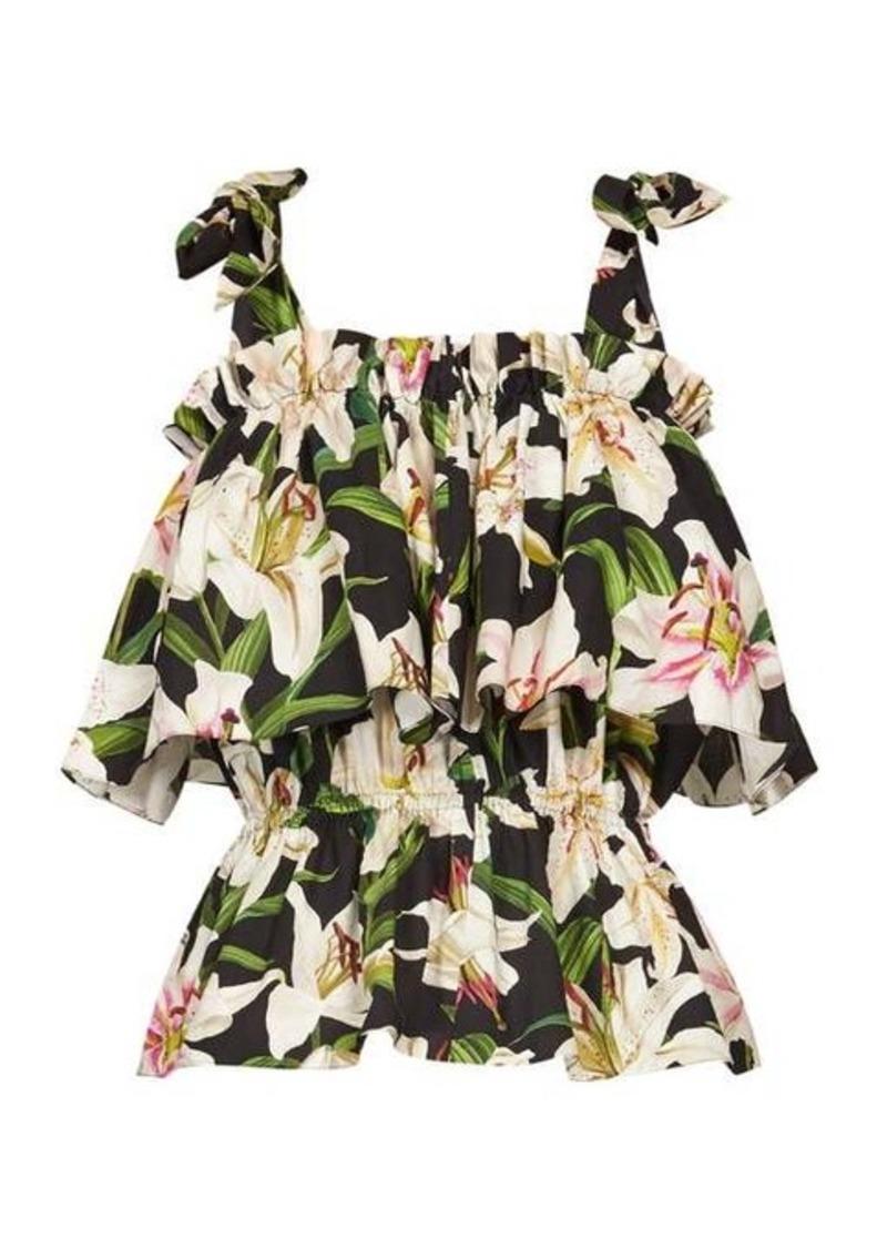 Dolce & Gabbana Lilum-print cotton-poplin top