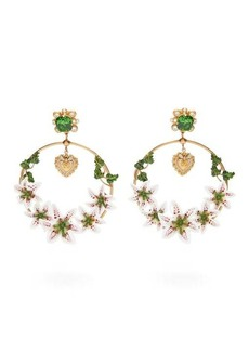 Dolce & Gabbana Lily & crystal hoop clip earrings