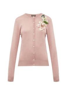 Dolce & Gabbana Lily-appliqué silk cardigan