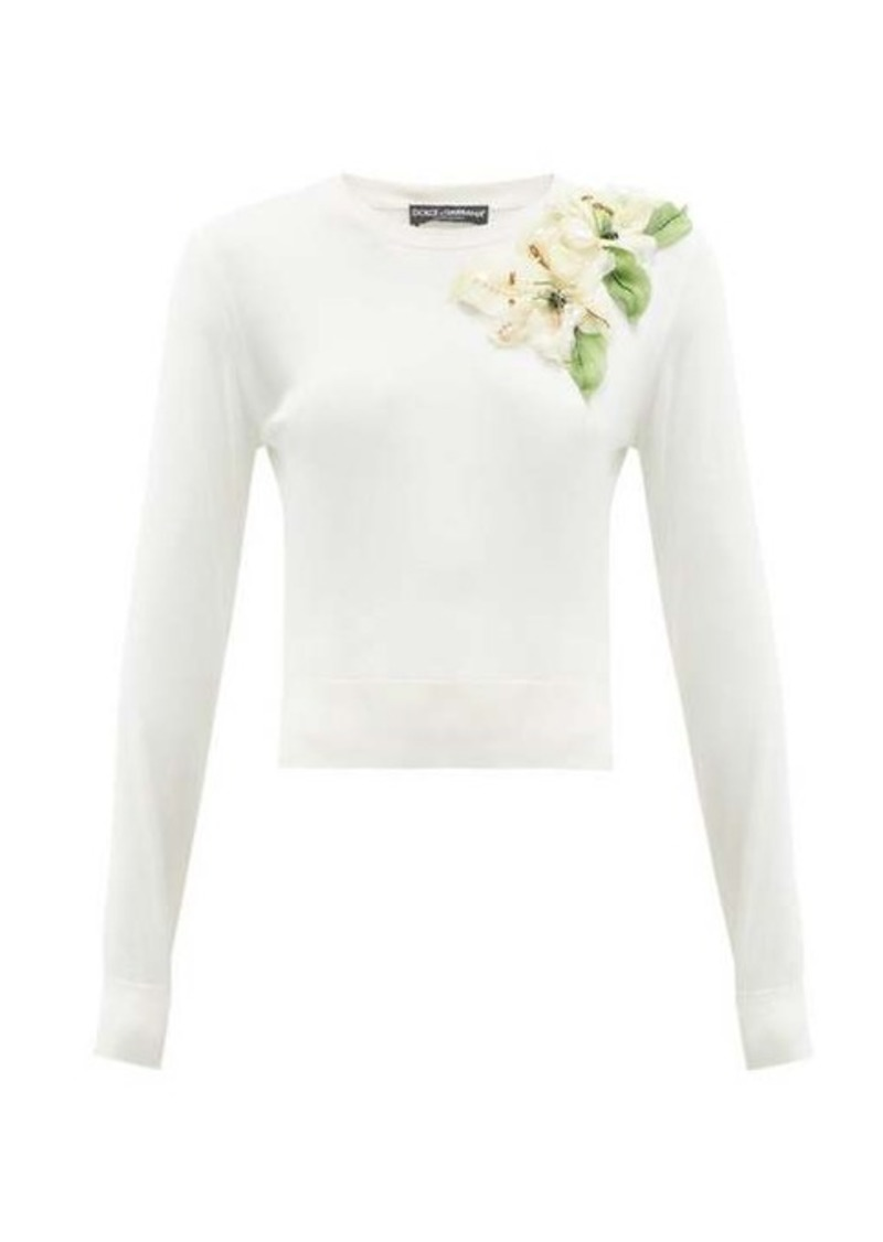 Dolce & Gabbana Lily-appliqué silk sweater