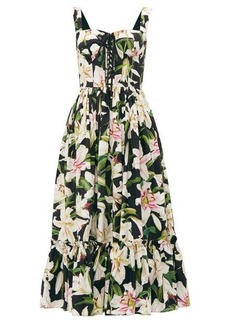 Dolce & Gabbana Lily-print bustier-bodice cotton dress