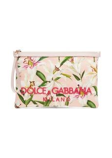 Dolce & Gabbana Lily-print canvas pouch