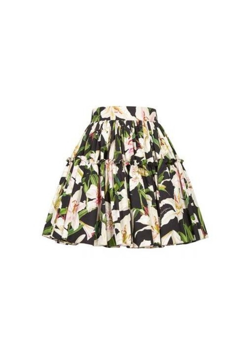 Dolce & Gabbana Lily-print cotton-poplin mini skirt