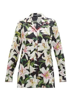Dolce & Gabbana Lily-print cotton-poplin pyjama shirt