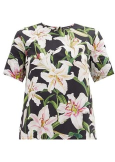 Dolce & Gabbana Lily-print cotton-poplin top