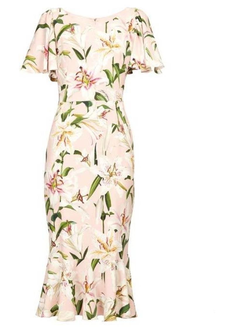 Dolce & Gabbana Lily-print fluted cady dress