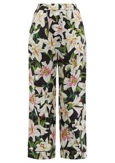 Dolce & Gabbana Lily-print high-rise cotton-blend pyjama trousers