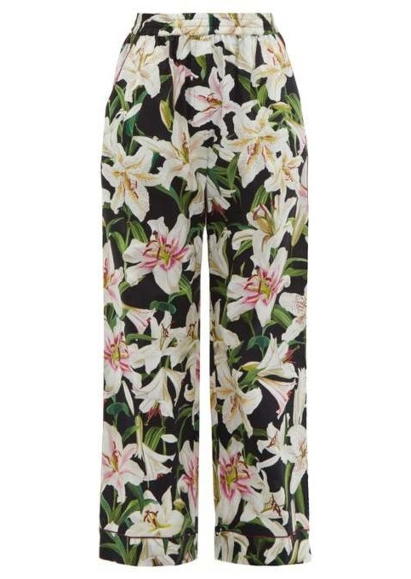Dolce & Gabbana Lily-print high-rise cotton-blend pyjama trousers