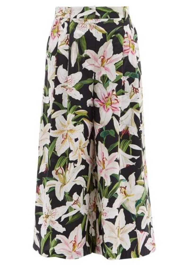 Dolce & Gabbana Lily-print high-rise cotton culotte trousers