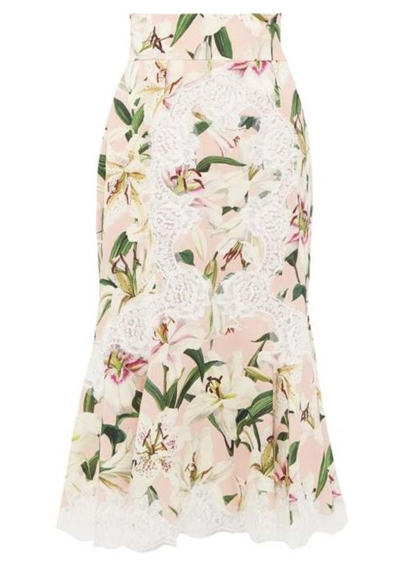 Dolce & Gabbana Lily-print lace-detail midi skirt