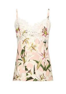 Dolce & Gabbana Lily-print lace-trim silk-charmeuse cami top