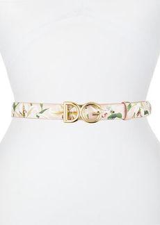Dolce & Gabbana Lily Print Leather Belt