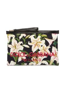 Dolce & Gabbana Lily-print pouch clutch
