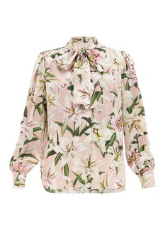Dolce & Gabbana Lily-print pussy-bow silk-crepe blouse