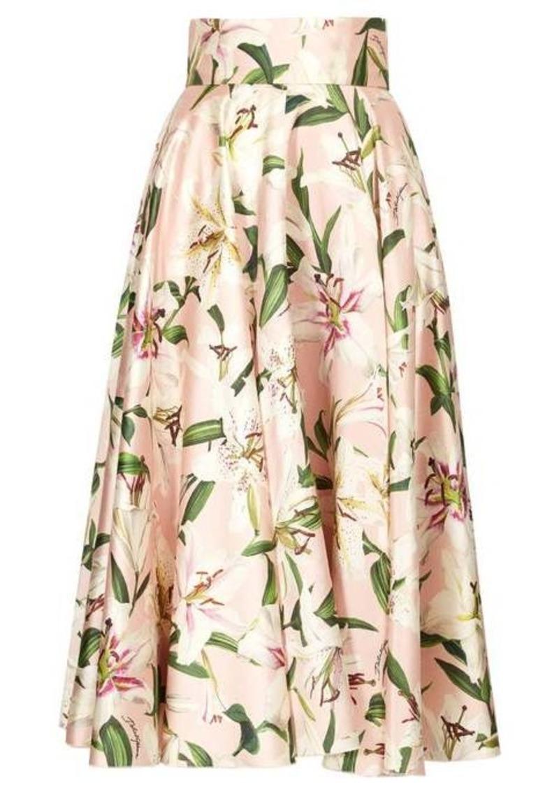 Dolce & Gabbana Lily-print shantung-silk midi skirt