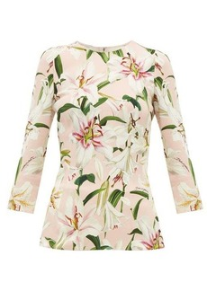 Dolce & Gabbana Lily-print stretch-crepe top
