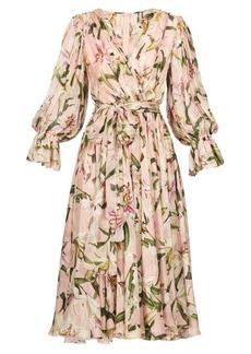 Dolce & Gabbana Lily-print tie-waist dress