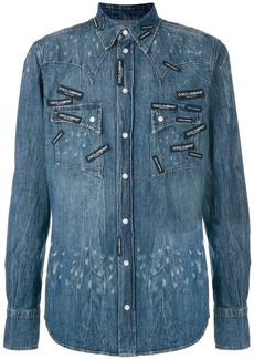 Dolce & Gabbana logo patch denim shirt - Blue