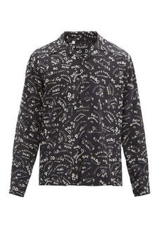 Dolce & Gabbana Logo-print Cuban-collar silk shirt