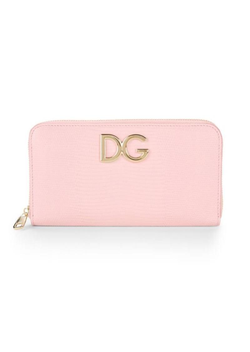 Dolce & Gabbana Leather Logo Zip Around Wallet