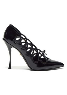 Dolce & Gabbana Lori bow-appliquéd cut-out leather pumps