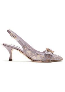 Dolce & Gabbana Lori crystal-embellished lace kitten-heel pumps