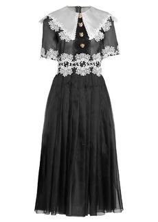 Dolce & Gabbana Macramé lace-trimmed organza midi dress