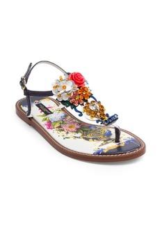 Dolce & Gabbana Maiolica Crystal-Embellished Floral-Print Sandals