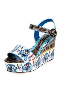 Dolce & Gabbana Maiolica Leopard Wedge Sandal