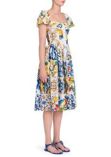 Dolce & Gabbana Maiolica Print Eyelet Cotton Poplin Dress