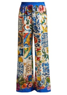 Dolce & Gabbana Majolica and floral-print silk-twill trousers