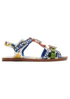 Dolce & Gabbana Majolica crystal-embellished leather sandals
