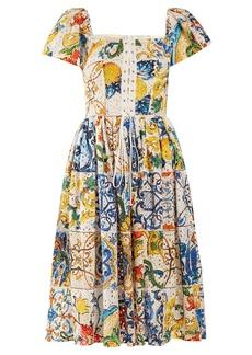 Dolce & Gabbana Majolica-print cotton broderie-anglaise midi dress