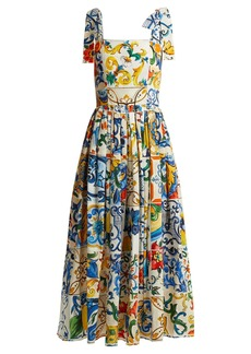 Dolce & Gabbana Majolica-print cotton-poplin midi dress