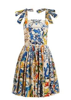 Dolce & Gabbana Majolica-print cotton-poplin mini dress