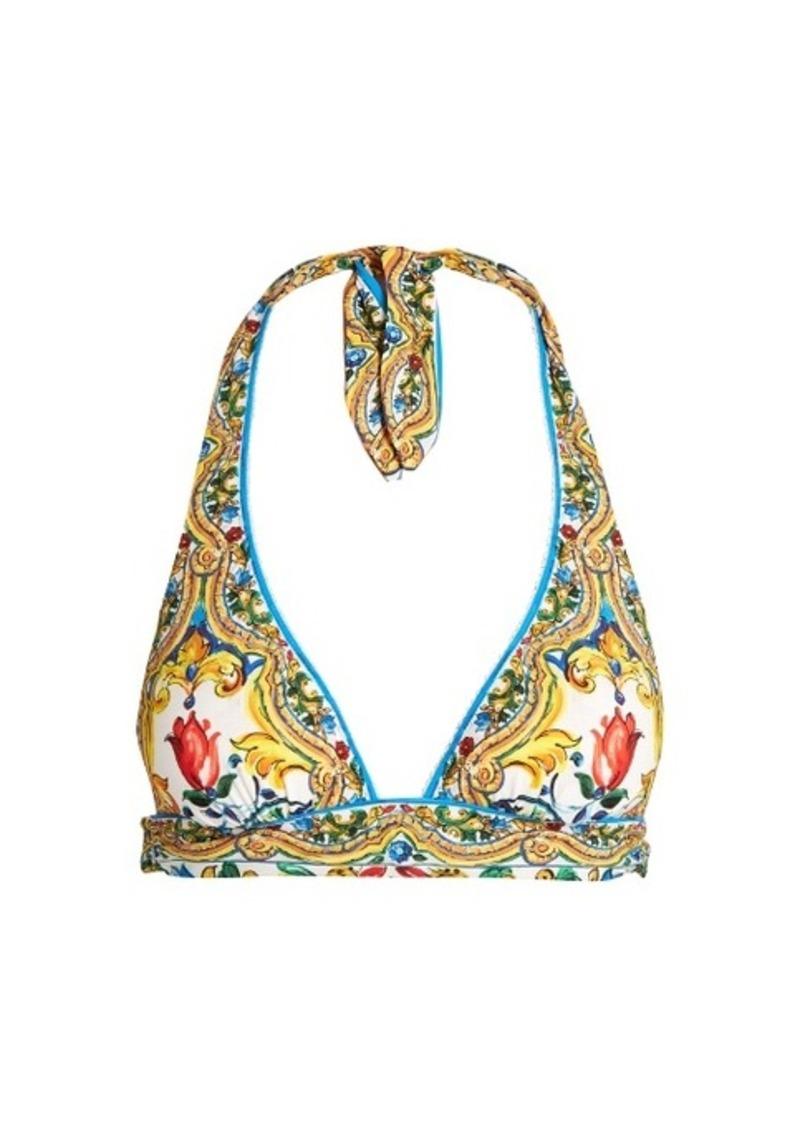 a908e5a8cf Dolce   Gabbana Dolce   Gabbana Majolica-print halterneck bikini top ...
