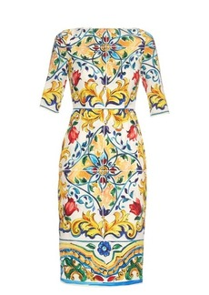 Dolce & Gabbana Majolica-print silk-blend midi dress