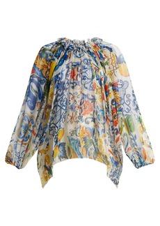Dolce & Gabbana Majolica-print silk-chiffon blouse