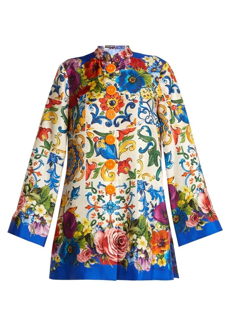 Dolce   Gabbana Dolce   Gabbana Majolica-print silk-twill tunic ... c5c05de7c62