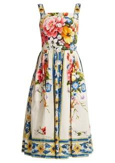 Dolce & Gabbana Majolica-print sleeveless cotton-poplin dress