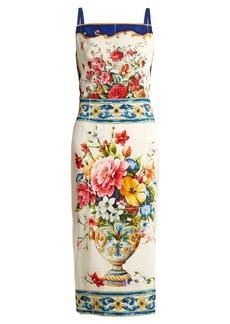 Dolce & Gabbana Majolica-print square-neck charmeuse dress