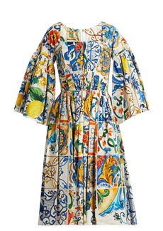 Dolce & Gabbana Majolica-print square-neck cotton-poplin dress
