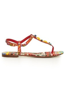 Dolce & Gabbana Majolica-print T-bar leather sandals