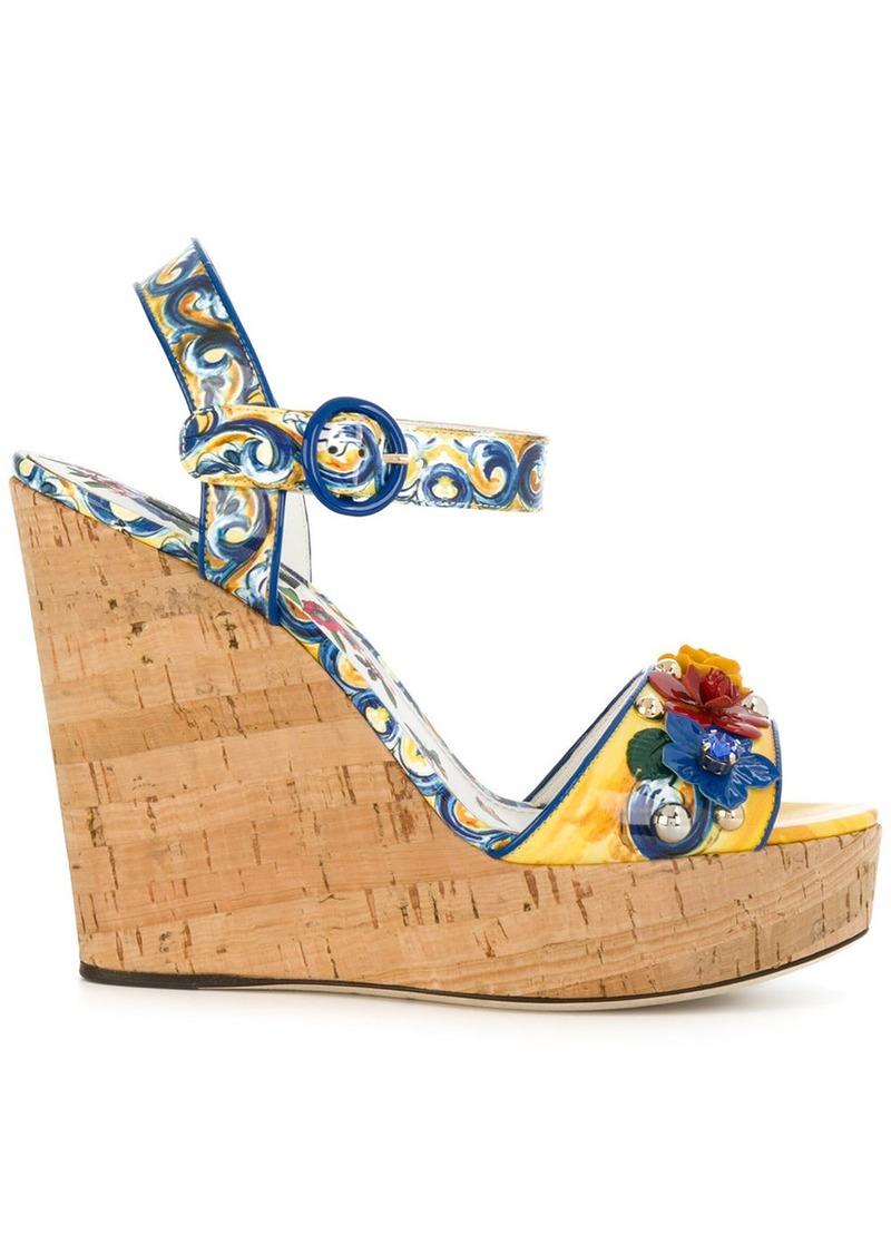 Dolce & Gabbana Majolica print wedges - Multicolour